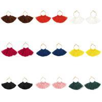 Mode-Fringe-Ohrringe, Nylonschnur, Eisen Ohrhaken, goldfarben plattiert, für Frau, keine, 55x80mm, verkauft von Paar