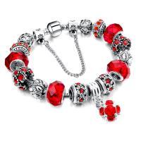 European Armband, Zinklegierung, mit Kristall, antik silberfarben plattiert, Armband  Bettelarmband & Schlangekette & für Frau & facettierte & mit Strass, keine, frei von Nickel, Blei & Kadmium, verkauft per ca. 7.5 ZollInch Strang
