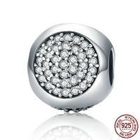 Thailand European Perlen, ohne troll & mit kubischem Zirkonia, 10x11mm, Bohrung:ca. 4.5-5mm, verkauft von PC