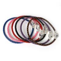 Kuhhaut Europa Armband-Schnur, mit Zinklegierung, Platinfarbe platiniert, unterschiedliche Länge der Wahl & unisex, keine, verkauft von Strang
