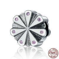 Thailand European Perlen, Blume, ohne troll & mit kubischem Zirkonia, 11x11mm, Bohrung:ca. 4.5-5mm, verkauft von PC