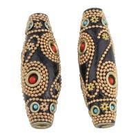 Indonesien Perlen, mit Messing, Trommel, goldfarben plattiert, frei von Nickel, Blei & Kadmium, 19x59mm, Bohrung:ca. 5mm, verkauft von PC