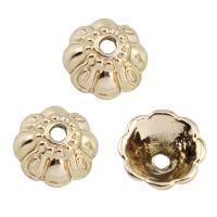 Zinklegierung Perlenkappe, Blume, vergoldet, frei von Blei & Kadmium, 9x4mm, Bohrung:ca. 1mm, 20PCs/Tasche, verkauft von Tasche
