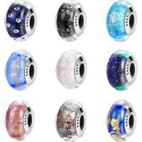 Lampwork Perlen European Stil, Rondell, verschiedene Stile für Wahl & Sterling Silber single-Core ohne troll & ohne troll & facettierte, keine, 9x15mm, Bohrung:ca. 4.5-5mm, verkauft von PC