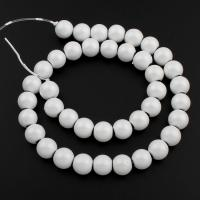 Nicht-magnetische Hämatit Perlen, Non- magnetische Hämatit, rund, Spritzlackierung, weiß, 10x11mm, Bohrung:ca. 1.5mm, ca. 40PCs/Strang, verkauft per ca. 15.7 ZollInch Strang