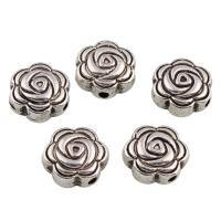 Zinklegierung Blumenperlen, Rose, antik silberfarben plattiert, frei von Blei & Kadmium, 8x4mm, Bohrung:ca. 1mm, 50PCs/Tasche, verkauft von Tasche
