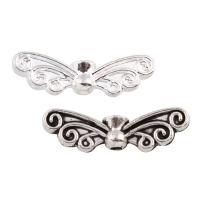 Zink Legierung Perlen Schmuck, Zinklegierung, Flügelform, plattiert, keine, frei von Blei & Kadmium, 22x7x4mm, Bohrung:ca. 1mm, 100G/Tasche, verkauft von Tasche