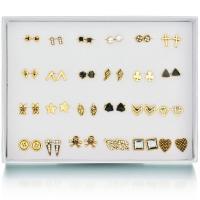 Zinklegierung Ohrstecker, mit Zettelkasten, Edelstahl Stecker, goldfarben plattiert, für Frau & Emaille & mit Strass & gemischt, frei von Blei & Kadmium, 5-14mm, 24PaarePärchen/Box, verkauft von Box