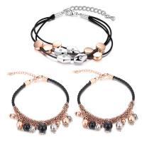 Zinklegierung Armband, mit ABS-Kunststoff-Perlen & Gewachste Hanfschnur, plattiert, verschiedene Stile für Wahl & für Frau & mit Strass, frei von Blei & Kadmium, verkauft per ca. 6-7 ZollInch Strang