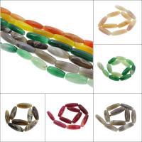 Natürliche Streifen Achat Perlen, Trommel, keine, 14x40mm, Bohrung:ca. 2mm, 10PCs/Strang, verkauft per ca. 15.7 ZollInch Strang