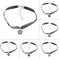 Mode-Halskette, Messing, mit Organza & CRYSTALLIZED™, mit Verlängerungskettchen von 5cm, Blume, platiniert, für Frau, keine, frei von Nickel, Blei & Kadmium, 18x125mm, verkauft per ca. 12.5 ZollInch Strang