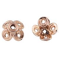 Zinklegierung Perlenkappe, Blume, Rósegold-Farbe plattiert, frei von Blei & Kadmium, 13x13x6mm, Bohrung:ca. 1mm, 20PCs/Tasche, verkauft von Tasche
