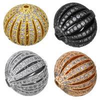 Befestigte Zirkonia Perlen, Messing, plattiert, Micro pave Zirkonia & hohl, keine, 16x15x16mm, Bohrung:ca. 2mm, 5PCs/Menge, verkauft von Menge