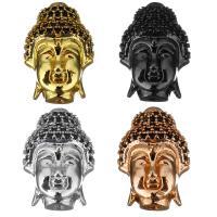 Befestigte Zirkonia Perlen, Messing, Buddha, plattiert, Micro pave Zirkonia, keine, 12.50x18x7mm, Bohrung:ca. 1.5mm, 10PCs/Menge, verkauft von Menge