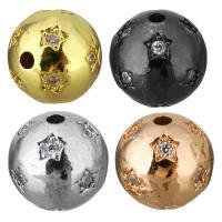 Befestigte Zirkonia Perlen, Messing, rund, plattiert, Micro pave Zirkonia, keine, 9mm, Bohrung:ca. 1mm, 20PCs/Menge, verkauft von Menge