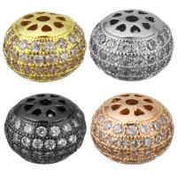 Befestigte Zirkonia Perlen, Messing, plattiert, Micro pave Zirkonia, keine, 12x9x12mm, Bohrung:ca. 1.5mm, 10PCs/Menge, verkauft von Menge