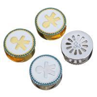 Messing Großes Loch Perlen, flache Runde, plattiert, Micro pave Zirkonia & Emaille, keine, 19x8mm, Bohrung:ca. 12x6mm, verkauft von PC