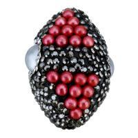 Strass Ton befestigte Perlen, Lehm pflastern, mit Harz, oval, mit Strass, 22x31x21mm, Bohrung:ca. 2mm, 5PCs/Menge, verkauft von Menge