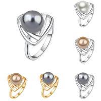 Zinklegierung Fingerring , mit ABS-Kunststoff-Perlen, rund, plattiert, für Frau, keine, frei von Blei & Kadmium, 15x15mm, Größe:6-9, verkauft von PC