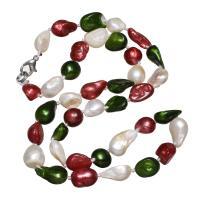 Natürliche Süßwasserperlen Halskette, Natürliche kultivierte Süßwasserperlen, Messing Karabinerverschluss, Zahn, für Frau, 8-10mm, verkauft per ca. 18 ZollInch Strang