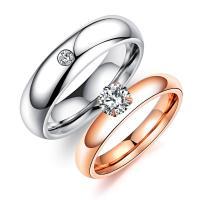 Zinklegierung Fingerring, plattiert, verschiedene Größen vorhanden & für Frau & mit kubischem Zirkonia, frei von Blei & Kadmium, 2mm, 5mm, 2PCs/setzen, verkauft von setzen