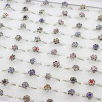 Zinklegierung Fingerring , Blume, antik silberfarben plattiert, unisex & einstellbar & mit Strass, frei von Blei & Kadmium, 19x23x9mm, Größe:6-9, 100PCs/Box, verkauft von Box