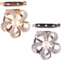 Strass Brosche, Zinklegierung, mit Kunststoff Perlen, plattiert, für Frau & mit Strass, keine, frei von Nickel, Blei & Kadmium, 40mm, verkauft von PC