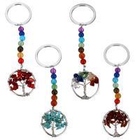 Schlüsselanhänger, Messing, mit Edelstein, Platinfarbe platiniert, verschiedenen Materialien für die Wahl, 112mm, 30mm, 29x34mm, 6mm, verkauft von PC