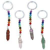 Messing Schlüsselanhänger, mit Edelstein, Pendel, Platinfarbe platiniert, verschiedenen Materialien für die Wahl, 120mm, 30mm, 11x39mm, 6mm, verkauft von PC