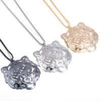 Zinklegierung Pullover Halskette, Tiger, plattiert, Kastenkette & für Frau, keine, frei von Blei & Kadmium, 70x66mm, verkauft per ca. 23.5 ZollInch Strang