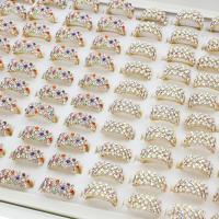 Zinklegierung Fingerring, goldfarben plattiert, für Frau & mit Strass, gemischte Farben, frei von Blei & Kadmium, 21x20x10mm, Größe:6.5, 100PCs/Box, verkauft von Box