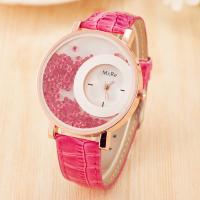 Damen Armbanduhr, PU Leder, mit Glas & Strass & Zinklegierung, Edelstahl Dornschließe, plattiert, für Frau, keine, 40mm, 18mm, Länge:ca. 9.4 ZollInch, verkauft von PC