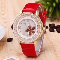 Damen Armbanduhr, PU Leder, mit Glas & Strass & Zinklegierung, Edelstahl Dornschließe, plattiert, für Frau, keine, Länge:ca. 9.4 ZollInch, verkauft von PC