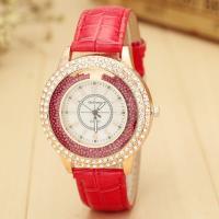 Damen Armbanduhr, PU Leder, mit Glas & Zinklegierung, Edelstahl Dornschließe, plattiert, für Frau & mit Strass, keine, 40mm, 20mm, Länge:ca. 9.4 ZollInch, verkauft von PC