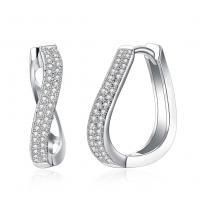 Messing Hebel Rückseiten Ohrring, platiniert, Micro pave Zirkonia & für Frau, frei von Nickel, Blei & Kadmium, 4x20mm, verkauft von Paar