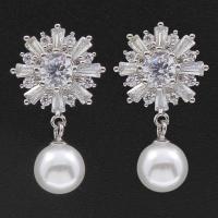 Kupfernickel Tropfen Ohrring, mit ABS-Kunststoff-Perlen, Sterling Silber Stecker, Blume, silberfarben plattiert, für Frau & mit kubischem Zirkonia, 15x25x5mm, verkauft von Paar