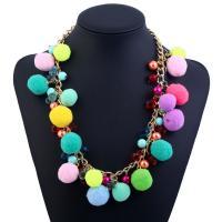 Plüsch Halskette, mit ABS-Kunststoff-Perlen & Kristall & Zinklegierung, mit Verlängerungskettchen von 5cm, für Frau, frei von Blei & Kadmium, 500mm, verkauft per ca. 19.5 ZollInch Strang