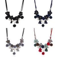 Wollschnur Halskette, mit Plüsch & Glas-Rocailles, mit Verlängerungskettchen von 5cm, für Frau, keine, 450mm, verkauft per ca. 17.5 ZollInch Strang
