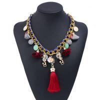 Zinklegierung Halskette, mit Plüsch & Harz, mit Verlängerungskettchen von 5cm, goldfarben plattiert, für Frau, frei von Blei & Kadmium, 450mm, verkauft per ca. 17.5 ZollInch Strang