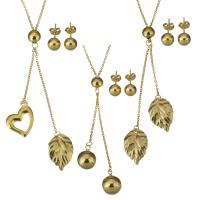 Zinklegierung Schmucksets, Ohrring & Halskette, Edelstahl, goldfarben plattiert, Oval-Kette & verschiedene Stile für Wahl & für Frau, Länge:ca. 18-19 ZollInch, verkauft von setzen