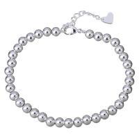 Edelstahl Schmuck Armband, mit Verlängerungskettchen von 1.5Inch, versilbert, Perlen Armband & für Frau, 5mm, Länge:ca. 6.5 ZollInch, 10SträngeStrang/Menge, verkauft von Menge