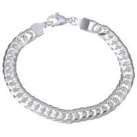 Edelstahl Armband, versilbert, Kandare Kette & für Frau, 8mm, Länge:ca. 7 ZollInch, 10SträngeStrang/Menge, verkauft von Menge