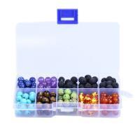 Mischedelstein Perlen, Edelstein, mit Kunststoff Kasten, rund, 8mm, 128x65x22mm, Bohrung:ca. 1mm, 200PCs/Box, verkauft von Box