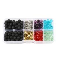 Mischedelstein Perlen, Edelstein, mit Kunststoff Kasten & Zinklegierung, rund, 8mm, 128x65x22mm, Bohrung:ca. 1mm, 260PCs/Box, verkauft von Box