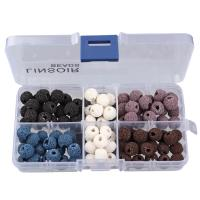 Natürliche Lava Perlen, mit Kunststoff Kasten, rund, gemischte Farben, 8mm, 128x65x22mm, Bohrung:ca. 1mm, 100PCs/Box, verkauft von Box