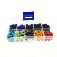 Mischedelstein Perlen, Lava, mit Kunststoff Kasten & Edelstein & Bernstein, rund, 8mm, 128x65x22mm, Bohrung:ca. 1mm, 200PCs/Box, verkauft von Box