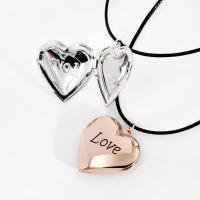 Messing Medaillon-Halskette, mit PU Leder, mit Verlängerungskettchen von 1.9Inch, Herz, Wort Liebe, plattiert, für Frau & Emaille, keine, frei von Nickel, Blei & Kadmium, 29x28mm, verkauft per ca. 13.7 ZollInch Strang