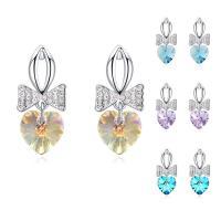 CRYSTALLIZED™ Kristall Ohrring, Messing, mit CRYSTALLIZED™, Herz, platiniert, für Frau & facettierte, keine, frei von Nickel, Blei & Kadmium, 11x26mm, verkauft von Paar