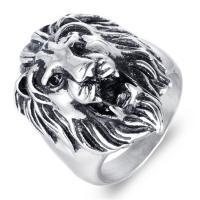 Edelstahl Herren-Fingerring, Titanstahl, Löwe, poliert, verschiedene Größen vorhanden & für den Menschen & Schwärzen, 35mm, Bohrung:ca. 15mm, verkauft von PC