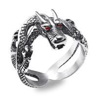 Edelstahl Herren-Fingerring, Titanstahl, Drachen, poliert, verschiedene Größen vorhanden & für den Menschen & mit Strass & Schwärzen, 8mm, Bohrung:ca. 15mm, verkauft von PC